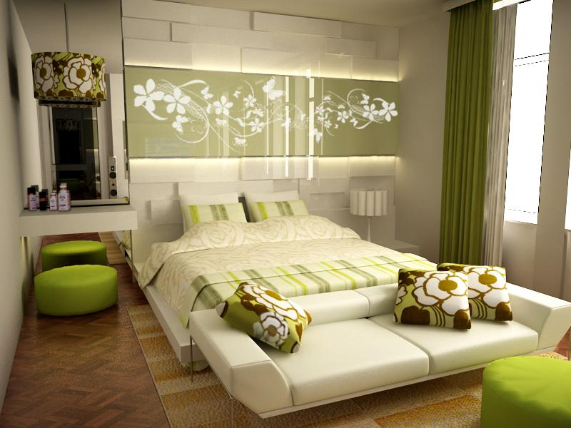 Green_Accented_White_Bedroom_by_RyoSakaZaQ